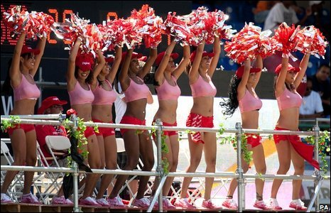 Cheerleaders perform during the fifth cricket test between England and West Indies at Queen's Park Oval, Port of Spain, Trinidad, 9 March 2009