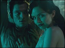 MATHEW HORNE as Jimmy McLaren (left) with VERA FILATOVA as Eva