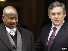 President Museveni, of Uganda, with Prime Minister Gordon Brown