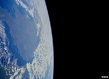 Panoramic view of England from a space shuttle
