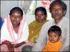 Laxmi Oraon (left) with her family (Pictures: Subhamoy Bhattacharjee)