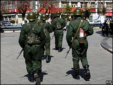 Chinese paramilitary police patrol Lhasa, the capital of Tibet (9 March)