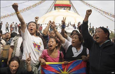 Tibetans rally in Kathmandu, Nepal