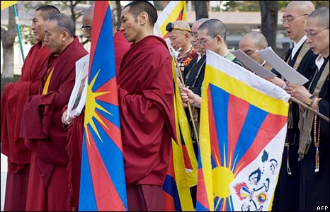 Buddhist monks in Japan holding a vigil for Tibet