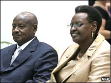 President of Uganda Yoweri Museveni and his wife Janet Museveni in Entebbe, Uganda, in November 2007