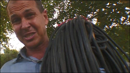 Peter Greste and the large cable for the generator