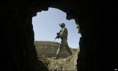 An American soldier near Bagram in Afghanistan