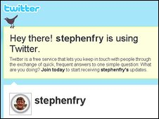 Screengrab from Stephen Fry's Twitter site