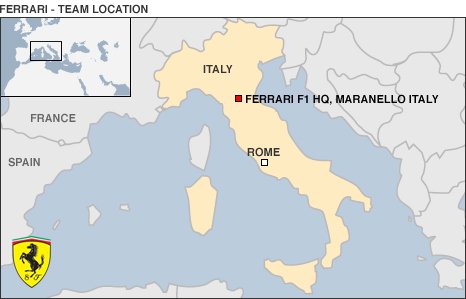 Map of Italy showing Ferrari's base