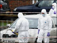 Forensic officers at murder scene