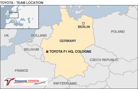 Map showing Toyota's base in Germany
