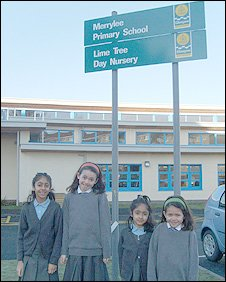 Pupils at the new Merrylee Primary