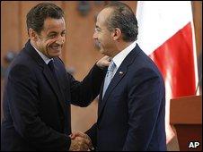 Nicolas Sarkozy and Felipe Calderon