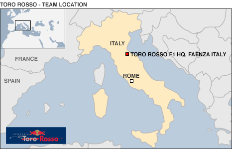Map showing Toro Rosso's Italian base
