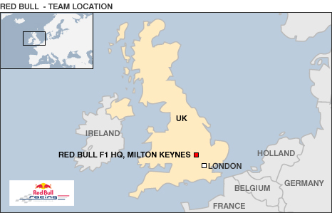 Map showing Red Bull's UK location