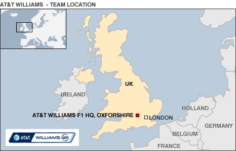 Map of UK showing the Williams F1 base