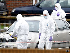 Forensic officers at scene of Craigavon shooting