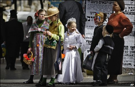 Ultra Orthodox Jewish girls, dressed in costumes for the Jewish holiday of Purim, are seen at the religious neighborhood of Mea Shearim in Jerusalem