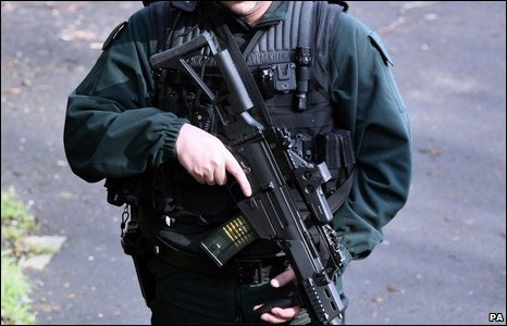 There is still a heavy police presence in the area, with many officers armed, amid fears of further attacks.