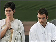 Priyanka (l) and Rahul Gandhi in New Delhi, May 2006