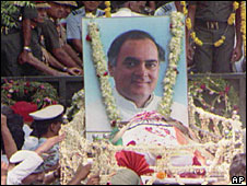 Rajiv Gandhi funeral procession, 1991