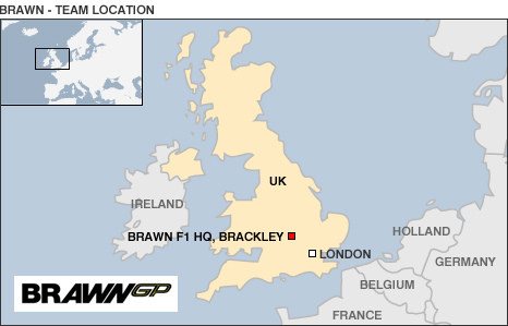Map showing UK location of Brawn GP HQ