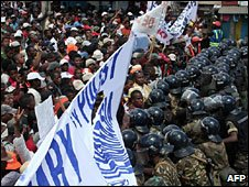 Riot police confronting opposition suporters (Feb 2009)