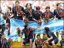 Argentina won gold in the football tournament at Beijing 08