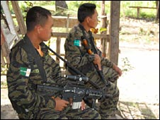 MILF soldiers at a camp at Darapanan, Maguindanao.
