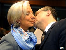 Czech Finance Minister Miroslav Kalousek greets his French counterpart Christine Lagarde