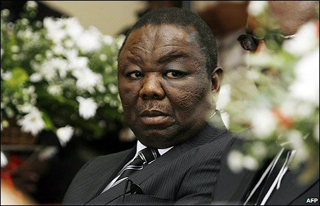 Zimbabwean Prime Minister Morgan Tsvangirai at a service for his wife Susan in Harare, Zimbabwe (10/03/2009)
