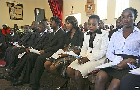 Zimbabwean Prime Minister Morgan Tsvangirai's children at a service for their mother in Harare (10/03/209)