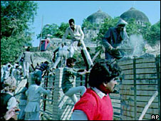 Hindu devotees destroy and scale walls surrounding Babri mosque