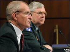 Dennis Blair (L) and Michael Maples before the Senate Armed Services Committe