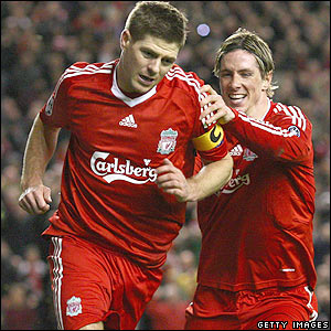 Gerrard celebrates after making it 3-0 on aggregate
