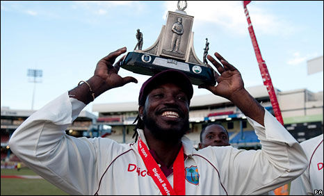 West Indies captain Chris Gayle lifts the Wisden Trophy