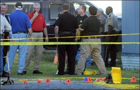 The scene of a shooting in Samson, Alabama on 10 March, 2009