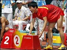 Liu Xiang prepares to race at the Olympics on 18 August 2008