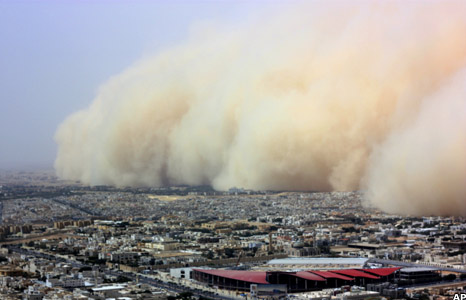Sandstorm over Riyadh skyline