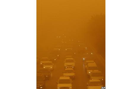 Traffic jam in the sandstorm
