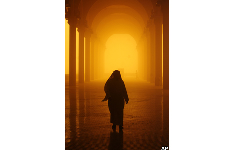 Man walks through the sandstorm