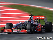 Heikki Kovalainen in action in Barcelona