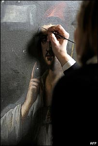 Roberta Lapucci restaurando un Caravaggio