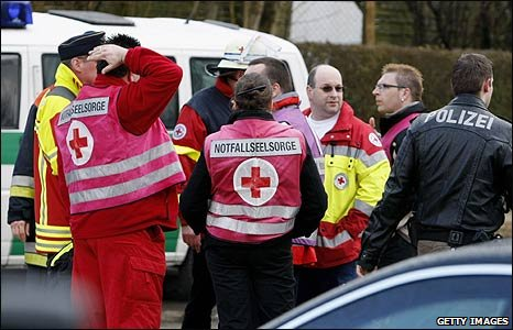 Medical teams outside the school in Winnenden, Germany