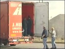 Lorry drivers find migrants in a UK-bound lorry