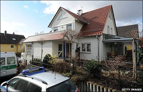 The suspect's home in Winnenden, Germany
