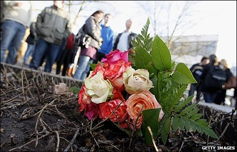 Flowers left at the scene of the school shooting in Winnenden, Germany
