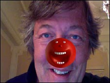 Stephen Fry with red nose on Twitter