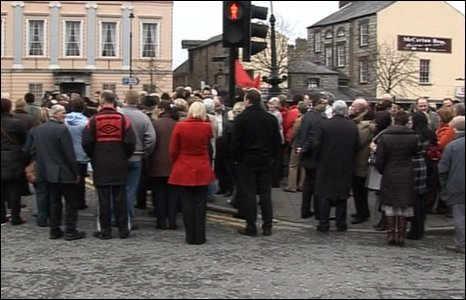 A silent vigil was also held in Newry with people united in protest.