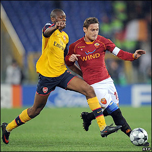 Diaby and Totti contest possession